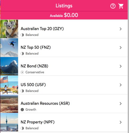 Screenshot showing available options to buy